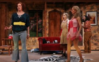Stage scene from Noises Off at Metropolis Performing Arts Centre
